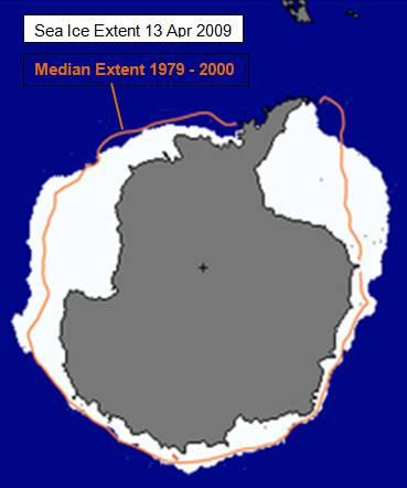 Surface des glaces antarctiques le 13/04/09