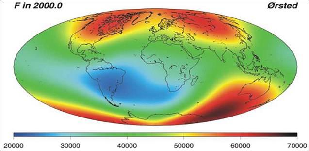 Intensité champ magnétique terrestre